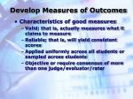 develop measures of outcomes25