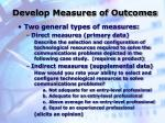 develop measures of outcomes26