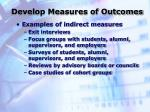 develop measures of outcomes28