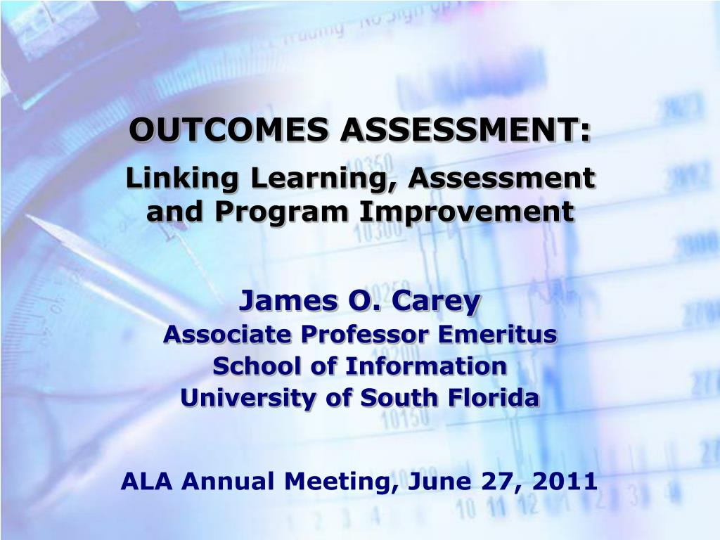 outcomes assessment linking learning assessment and program improvement l.
