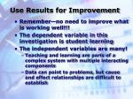 use results for improvement