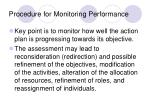 procedure for monitoring performance