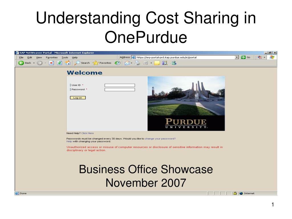 understanding cost sharing in onepurdue l.