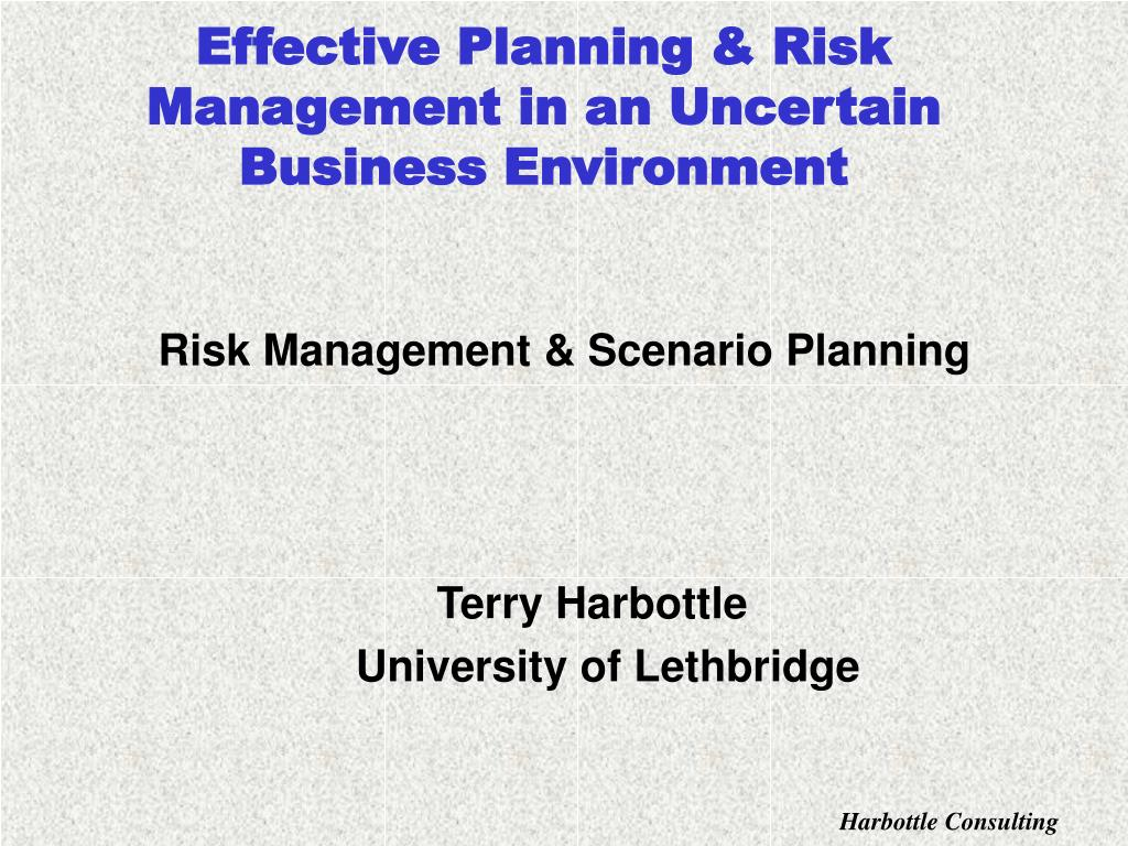 effective planning risk management in an uncertain business environment l.
