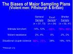 the biases of major sampling plans violent men pittsburgh britain