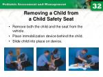 removing a child from a child safety seat