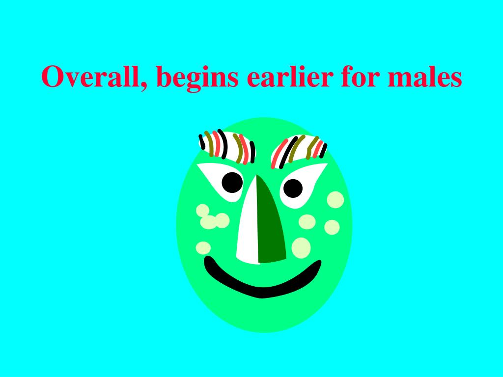 Overall, begins earlier for males