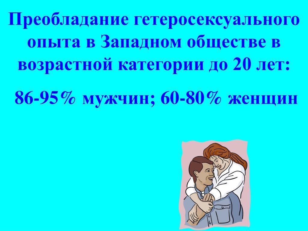 Преобладание гетеросексуального опыта в Западном обществе в возрастной категории до 20 лет