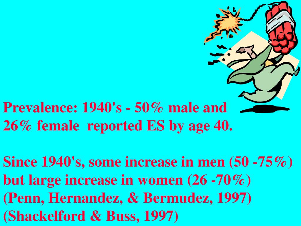 Prevalence: 1940's - 50% male and           26% female  reported