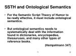 ssth and ontological semantics