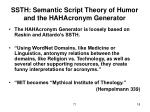 ssth semantic script theory of humor and the hahacronym generator