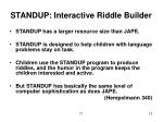 standup interactive riddle builder