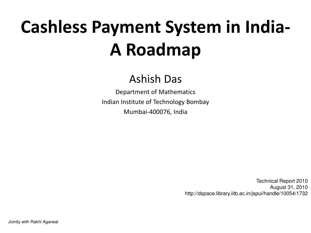cashless payment system in india a roadmap l.