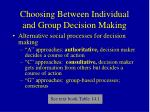 choosing between individual and group decision making