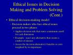 ethical issues in decision making and problem solving cont62