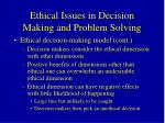 ethical issues in decision making and problem solving