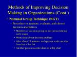 methods of improving decision making in organizations cont44