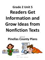 grade 2 unit 5 readers get information and grow ideas from nonfiction texts pinellas county plans