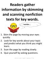 readers gather information by skimming and scanning nonfiction texts for key words