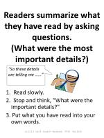 readers summarize what they have read by asking questions what were the most important details