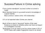 success failure in crime solving