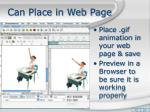 can place in web page