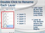 double click to rename each layer