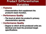 product differentiation variables