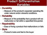 product differentiation variables22