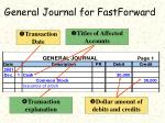 general journal for fastforward