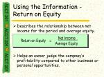 using the information return on equity