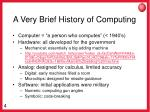 a very brief history of computing