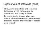 lightcurves of asteroids cont