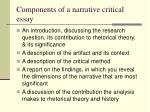components of a narrative critical essay