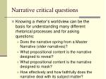 narrative critical questions
