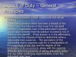 breach of duty general principles