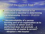 limits of the control test