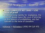 proof of negligence general