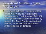 recreational activities trade practices act