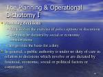 the planning operational dichotomy i