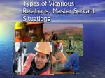 types of vicarious relations master servant situations