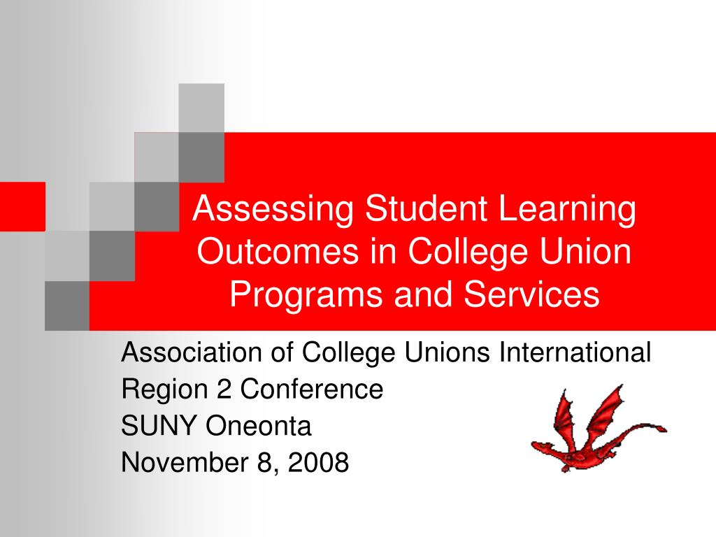 assessing student learning outcomes in college union programs and services l.