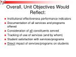overall unit objectives would reflect