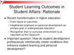 student learning outcomes in student affairs rationale