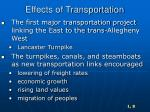 effects of transportation