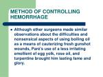 method of controlling hemorrhage30