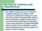 method of controlling hemorrhage31