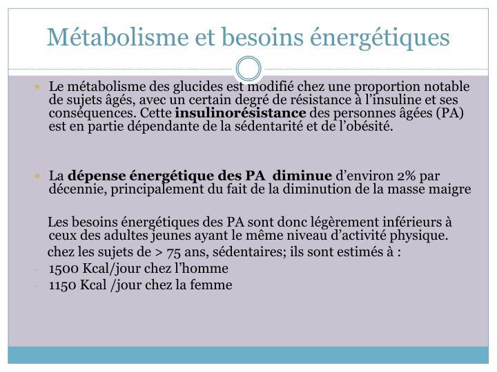 Métabolisme et besoins énergétiques