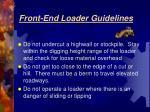 front end loader guidelines