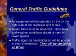 general traffic guidelines